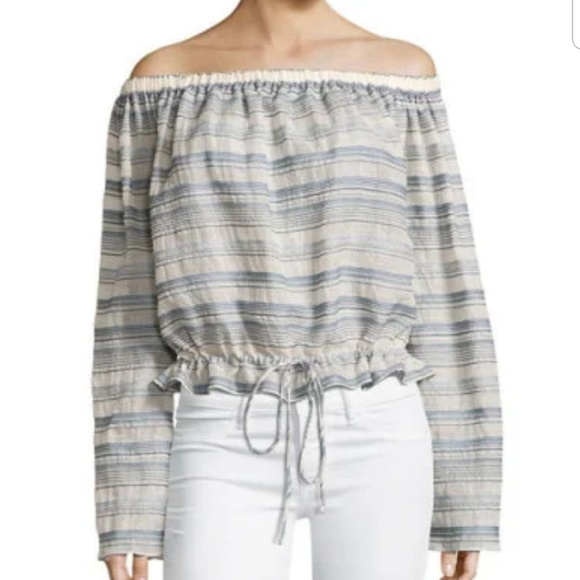 bbb931685f Theory Tops | Odettah Vall Striped Off The Shoulder Top | Poshmark
